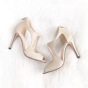 Klub Nico | beige reptile leather cutout heels